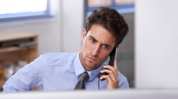 man phone discussion customer manager management call concern. Call conversion rate increase