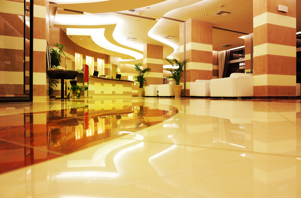 Empty brand new marble entrance / lobby of hotel at night. The reception is empty