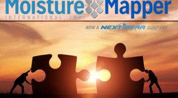 Two businessman connecting puzzle pieces togheter with copy space concept for moisture mapper acquisition by next gear solutions