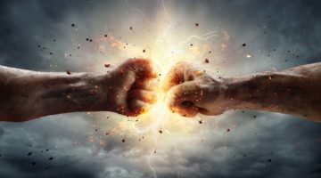 Two Fiery Fists In Impact With Stormy Sky In Background power boosters april eighteen