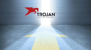 trojan batter image at entrance to bright doorway with arrow