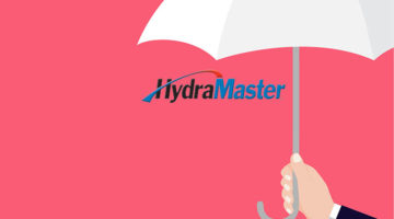 bluefin acquisition of hydramaster concept with umbrella above hydramaster logo hand holding white umbrella on red background