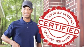 technician arriving at home with certification logo for poll on marketing your techs as highly trained