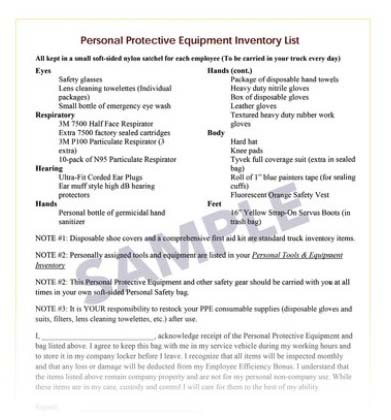 PPE Inventory List Sample | Cleanfax